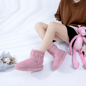 The Winter Snow Boots With Thick Velvet Flat Comfortable Warm Boots Women Shoes - PINK 39