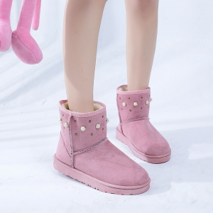 The Winter Snow Boots With Thick Velvet Flat Comfortable Warm Boots Women Shoes - PINK 36