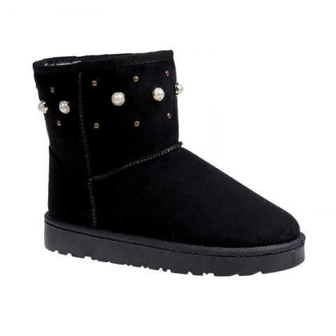Chic The Winter Snow Boots With Thick Velvet Flat Comfortable Warm Boots Women Shoes BLACK 36