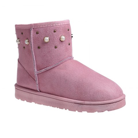 Store The Winter Snow Boots With Thick Velvet Flat Comfortable Warm Boots Women Shoes PINK 36
