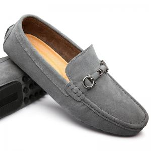 Doug Shoes Men'S Casual Shoes Leather Shoes Flat Shoes All-Match Leather Shoes - GRAY 42