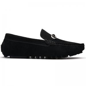 Doug Shoes Men'S Casual Shoes Leather Shoes Flat Shoes All-Match Leather Shoes - BLACK 45