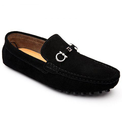 Hot Doug Shoes Men'S Casual Shoes Leather Shoes Flat Shoes All-Match Leather Shoes BLACK 45