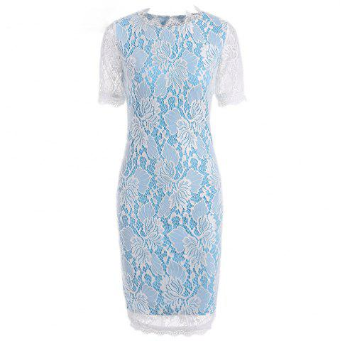 Trendy Summer Black Lace Dress 2017 half Sleeve Elegant Women Wear Casual Formal Work Party Dress SKY BLUE XL