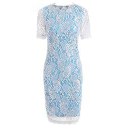 Summer Black Lace Dress 2017 half Sleeve Elegant Women Wear Casual Formal Work Party Dress - SKY BLUE XL