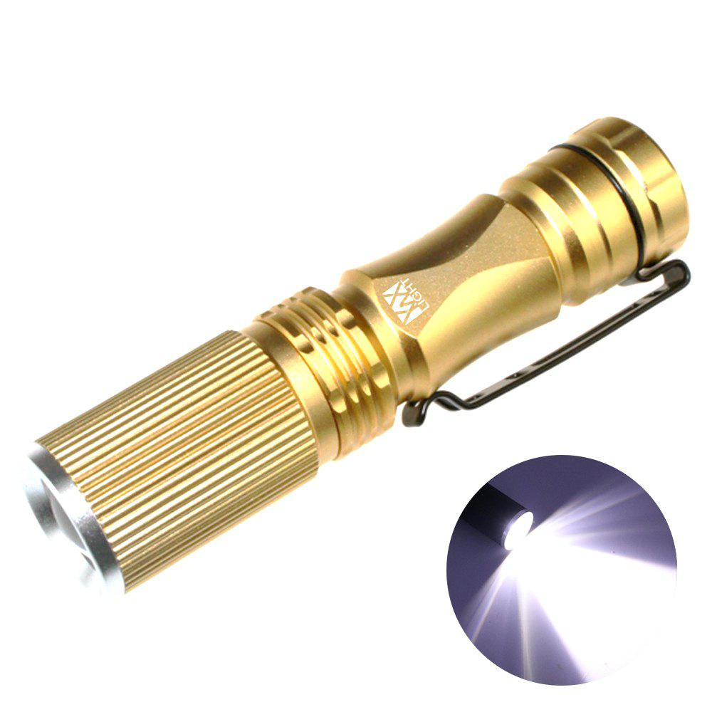 YWXLight XPE-Q5 LED 200LM 3 Modes Telescopic Zoom Ultra Bright Neutral White Light Mini FlashlightHOME<br><br>Color: GOLDEN; Color: Black,Golden; Flashlight Type: Safety,Tiny; Flashlight size: Small; Emitters: Cree XP-E Q5; Emitters Quantity: 1; Lumens Range: 200-500Lumens; Luminous Flux: 450LM; Color Temperature: 6000 - 6500K; Feature: Adjustable brightness,Zoomable; Function: Backpacking,Bike,Camping,EDC,Emergency,Exploring,Night Riding,Rescue,Seeking Survival,Walking,Work; Switch Location: Tail Cap; Light Modes: Moonlight,SOS,Turbo; Mode: 3(Low - High - Strobe); Power Source: Battery; Battery Type: 14500; Battery Quantity: 1 x 14500 Battery; Battery Included or Not: No; Mode Memory: No; Zooming Function: Yes; Rechargeable: No; LED Lifespan: &gt;100000;