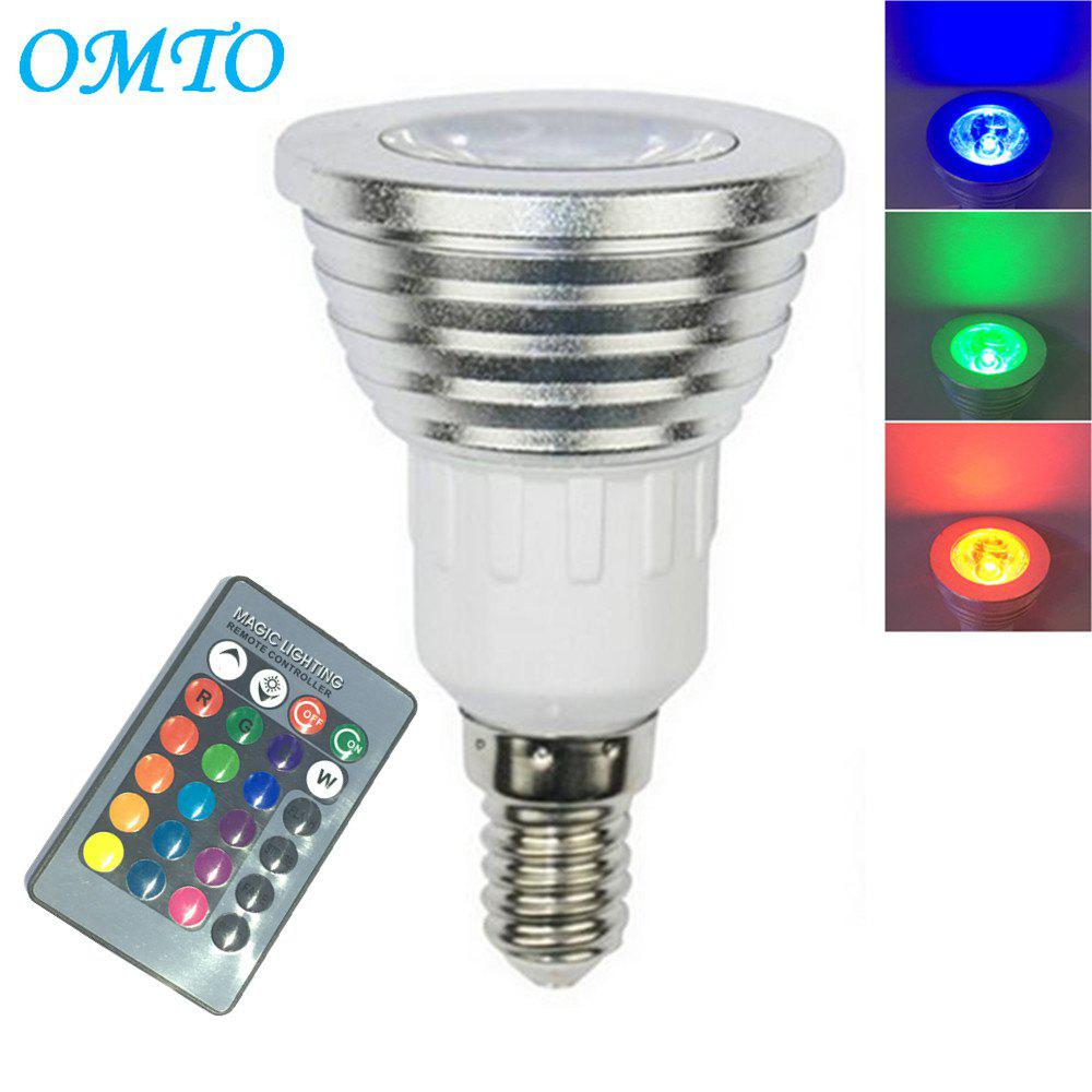 OMTO 1PCS E14 3W RGB 16 Color Changing Spotlight with IR Remote Control Mood Ambiance LightingHOME<br><br>Color: RGB; Brand: OMTO; Type: LED Spotlight; LED Beam Angle: 60 Degree; Wattage: 3W; Voltage: 85-265V; Connection: E14; Dimmable: Yes; Initial Lumens ( lm ): 150; Color Temperature or Wavelength: RGB; Material: Aluminium 6061;