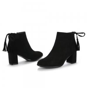 Women's Boots Tassels Stylish Side Zipper Ankle Thick Heel Pointed Toe Shoes -