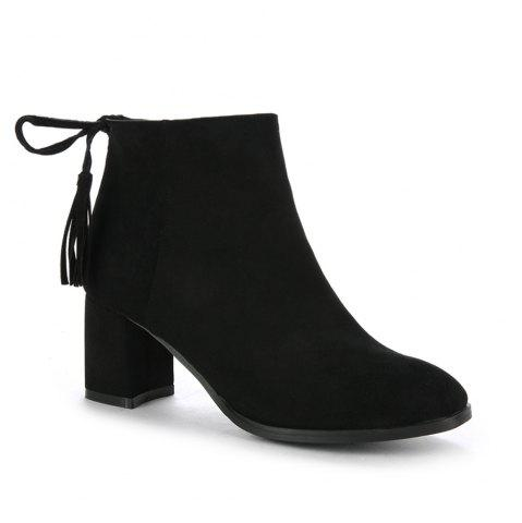 Unique Women's Boots Tassels Stylish Side Zipper Ankle Thick Heel Pointed Toe Shoes