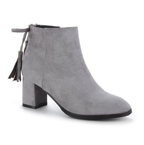 Unique Women's Boots Tassels Stylish Side Zipper Ankle Thick Heel Pointed Toe Shoes - 39 GRAY Mobile