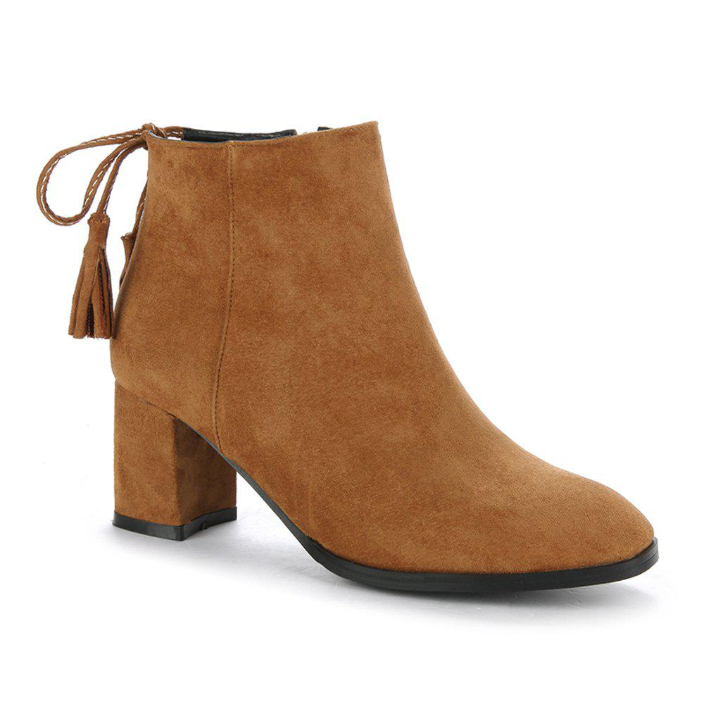 Shops Women's Boots Tassels Stylish Side Zipper Ankle Thick Heel Pointed Toe Shoes