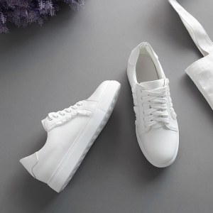 Women's Sneakers Color Block Breathable Sports Trendy All Match Shoes - WHITE 37