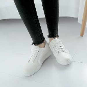 Women's Sneakers Color Block Breathable Sports Trendy All Match Shoes - WHITE 36