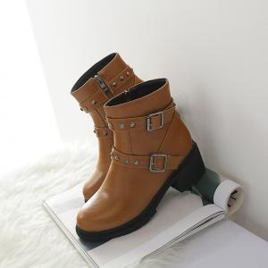 Women's Bottine Round Toe Strap Buckle Design Boots -