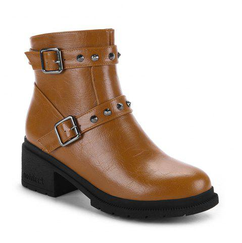Hot Women's Bottine Round Toe Strap Buckle Design Boots