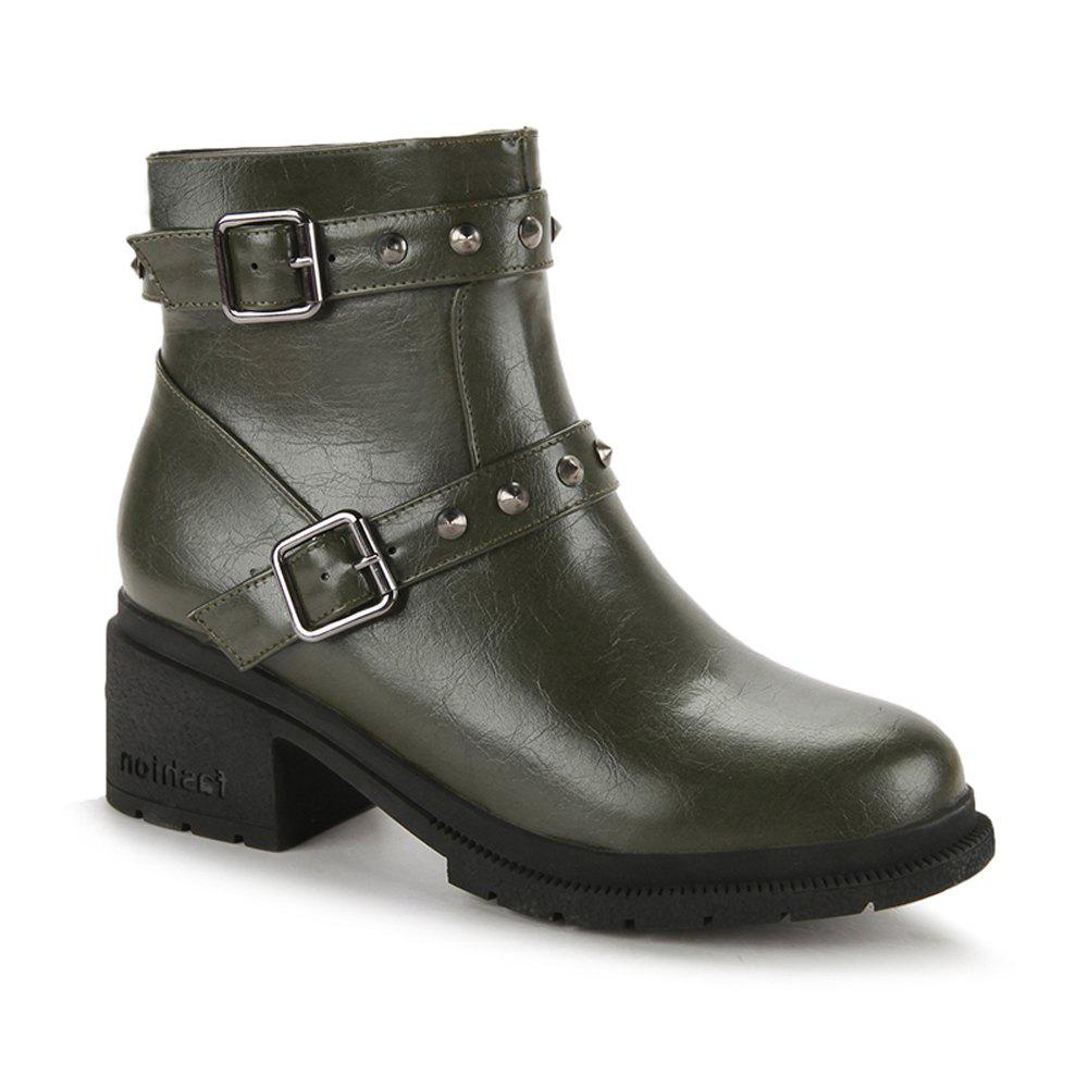 New Women's Bottine Round Toe Strap Buckle Design Boots