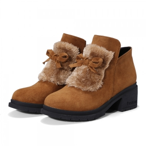 Women's Snow Boots Bowknot Decorative Solid Color Shoes -