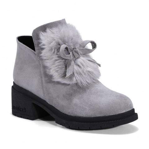 Fashion Women's Snow Boots Bowknot Decorative Solid Color Shoes - 39 GRAY Mobile