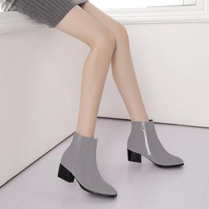 Women's Snow Boots Solid Color Low Heeled Fashion Boots -