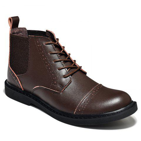Chic Martin Boots Men Boots Men'S Boots Real Leather Boots High Shoes Men'S British Vintage Boots Autumn Desert Boots Men'S Shoes - 39 BROWN Mobile