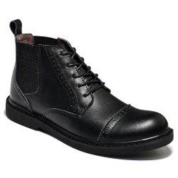 Martin Boots Men Boots Men'S Boots Real Leather Boots High Shoes Men'S British Vintage Boots Autumn Desert Boots Men'S Shoes - BLACK 42