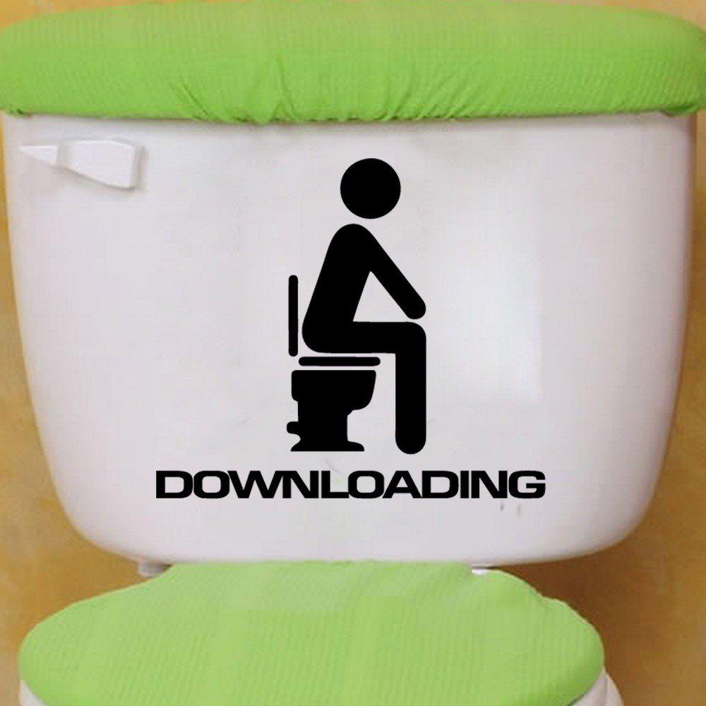 DSU Downloading Individual Toilet Sticker Bathroom Home Wall DecalHOME<br><br>Size: 13 X 15 CM; Color: BLACK;