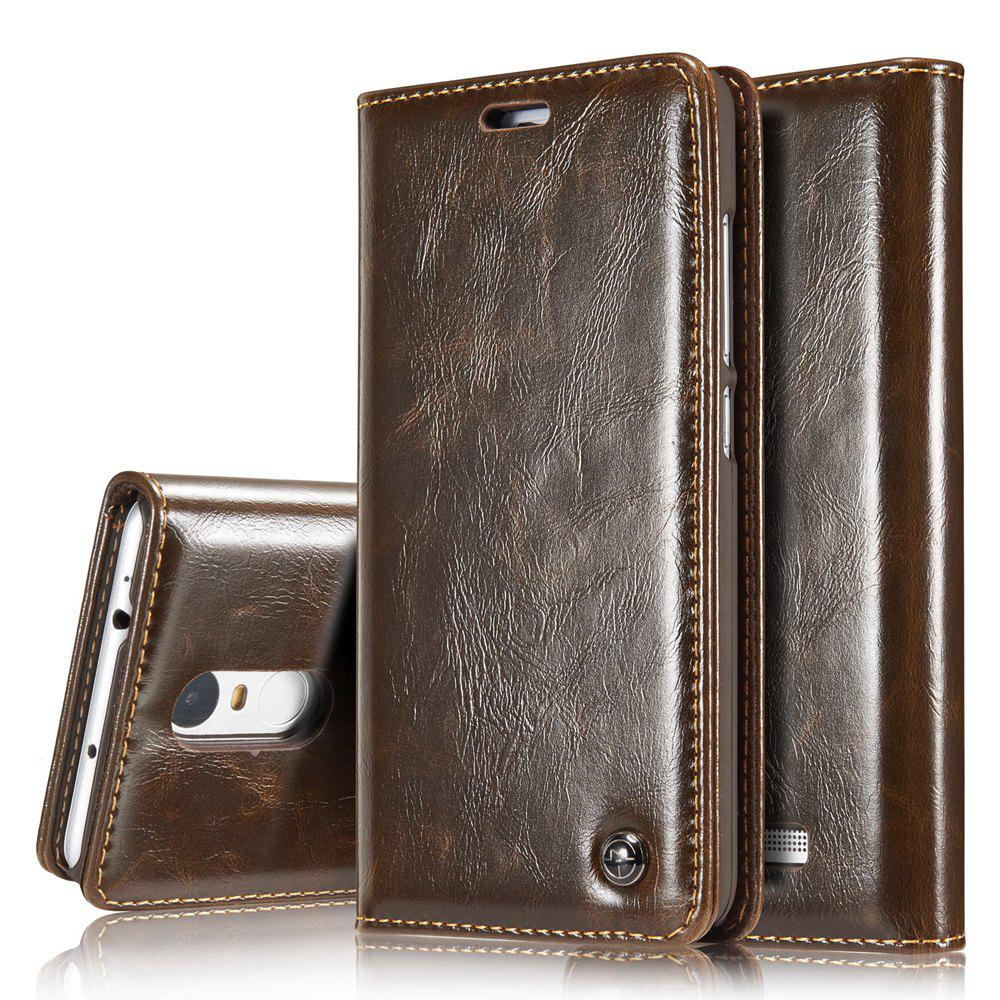 CaseMe Premium Quality Magnetic PU Leather Wallet Stand Case for Xiaomi Redmi Note 3HOME<br><br>Color: BROWN;