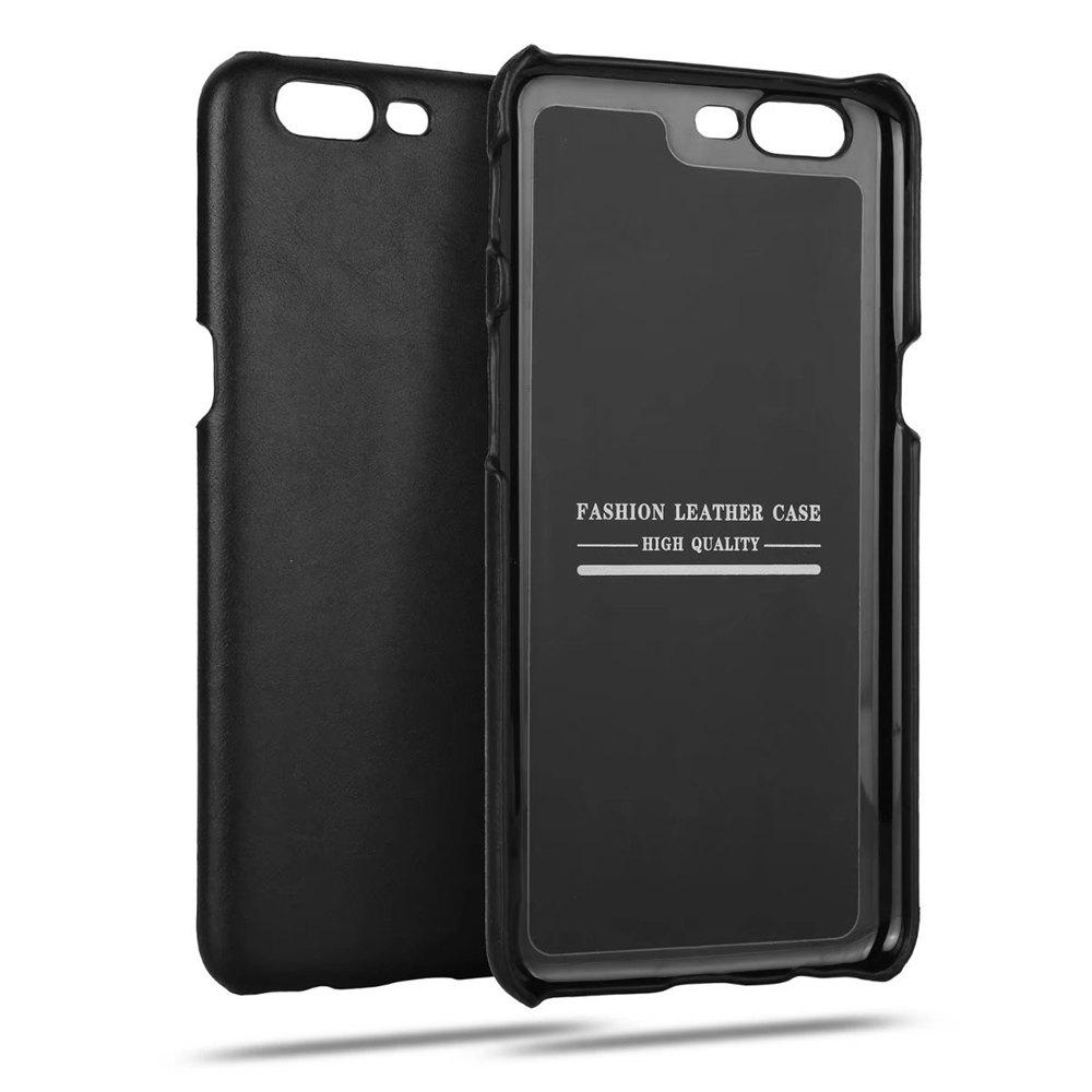 Wkae Genuine Leather Durable Back Cover Retro Frosted Shock Resistant Shell Case for OnePlus 5HOME<br><br>Color: BLACK;
