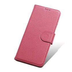 Wkae Litchi Texture Pattern Genuine Leather Wallet Flip Stand Pouch Case with Card Slots Magnetic Button For Samsung Galaxy S8 -