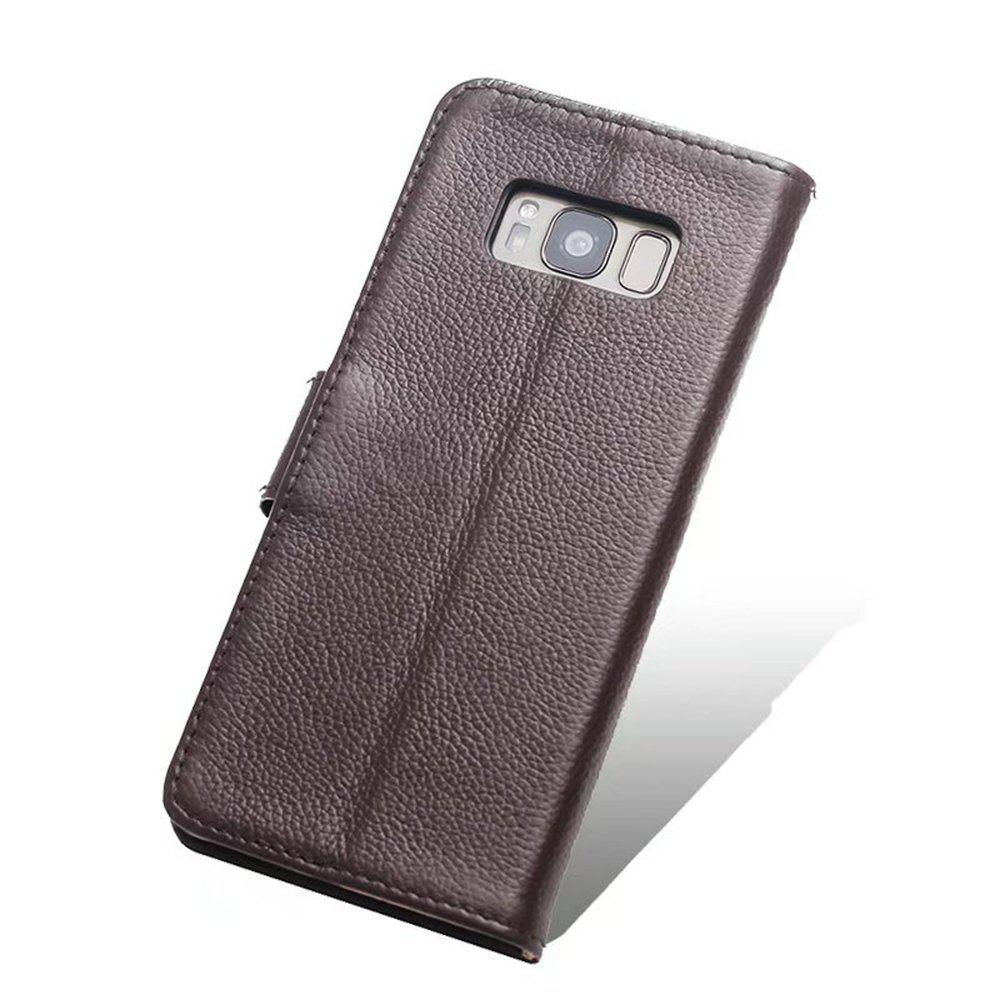 Sale Wkae Litchi Texture Pattern Genuine Leather Wallet Flip Stand Pouch Case with Card Slots Magnetic Button For Samsung Galaxy S8