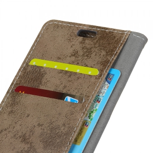 Durable Retro Style Solid Color Flip PU Leather Wallet Case for Motorola Moto X4 -