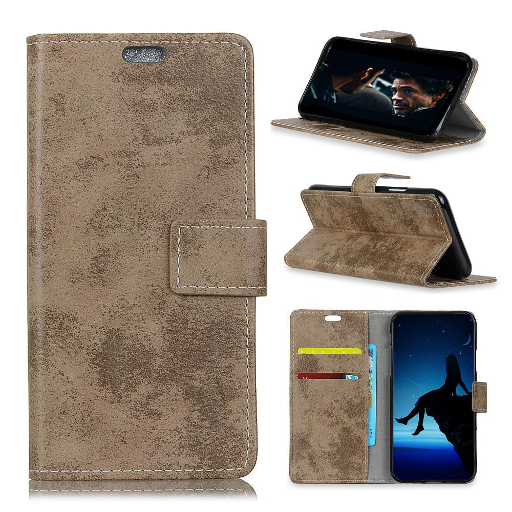 Fashion Durable Retro Style Solid Color Flip PU Leather Wallet Case for Motorola Moto X4