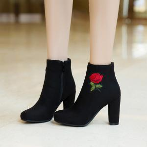 Women's Bottine Thick Heel Suede Elegant Rose Embroidery Decor Boots -
