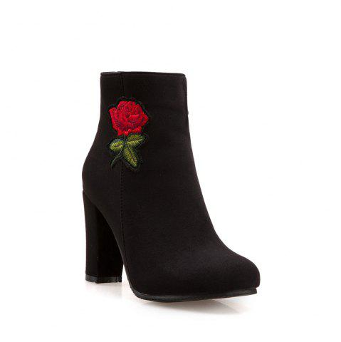 New Women's Bottine Thick Heel Suede Elegant Rose Embroidery Decor Boots