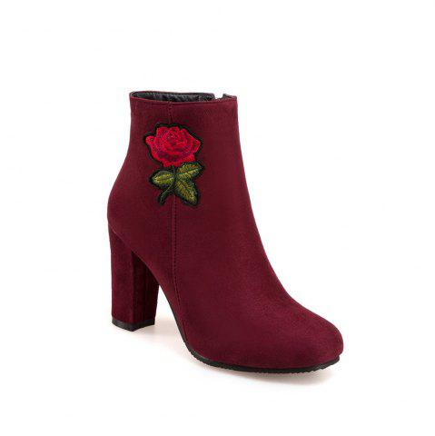 Best Women's Bottine Thick Heel Suede Elegant Rose Embroidery Decor Boots