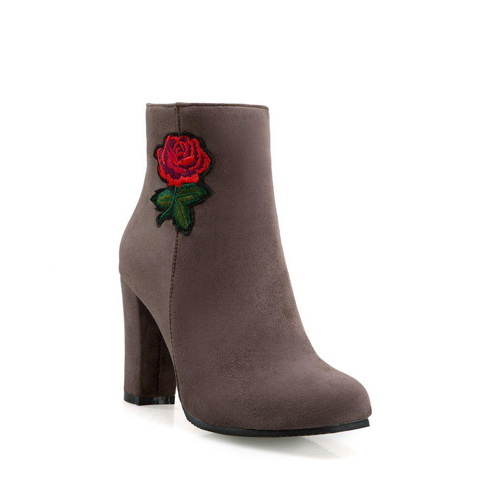 Latest Women's Bottine Thick Heel Suede Elegant Rose Embroidery Decor Boots