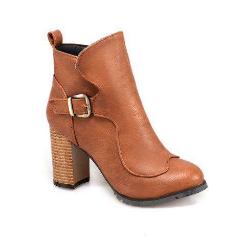 Buy Women's Ankle Boots Solid Color Round Toe All Match Zipper Vogue Buckle Shoes