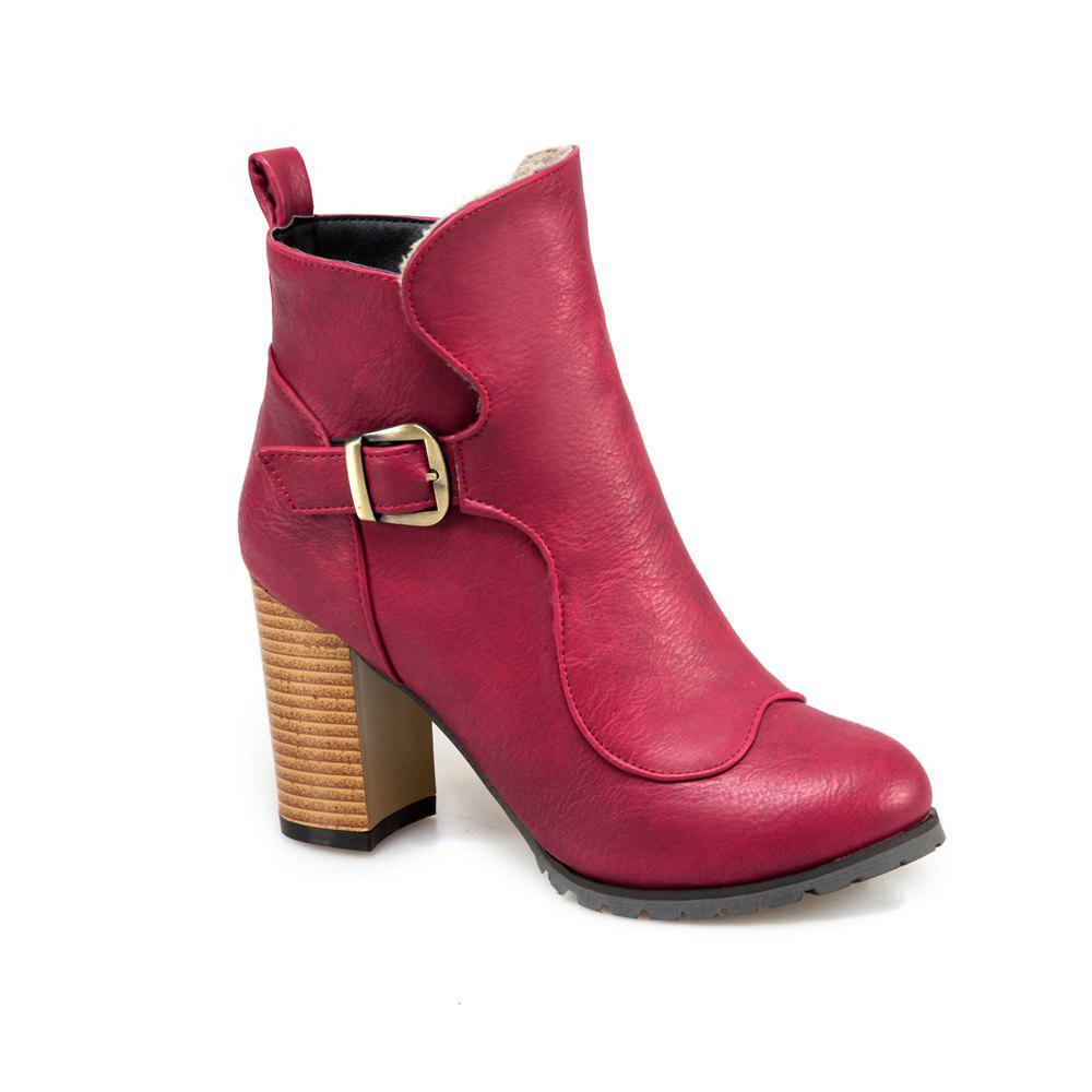 Outfits Women's Ankle Boots Solid Color Round Toe All Match Zipper Vogue Buckle Shoes