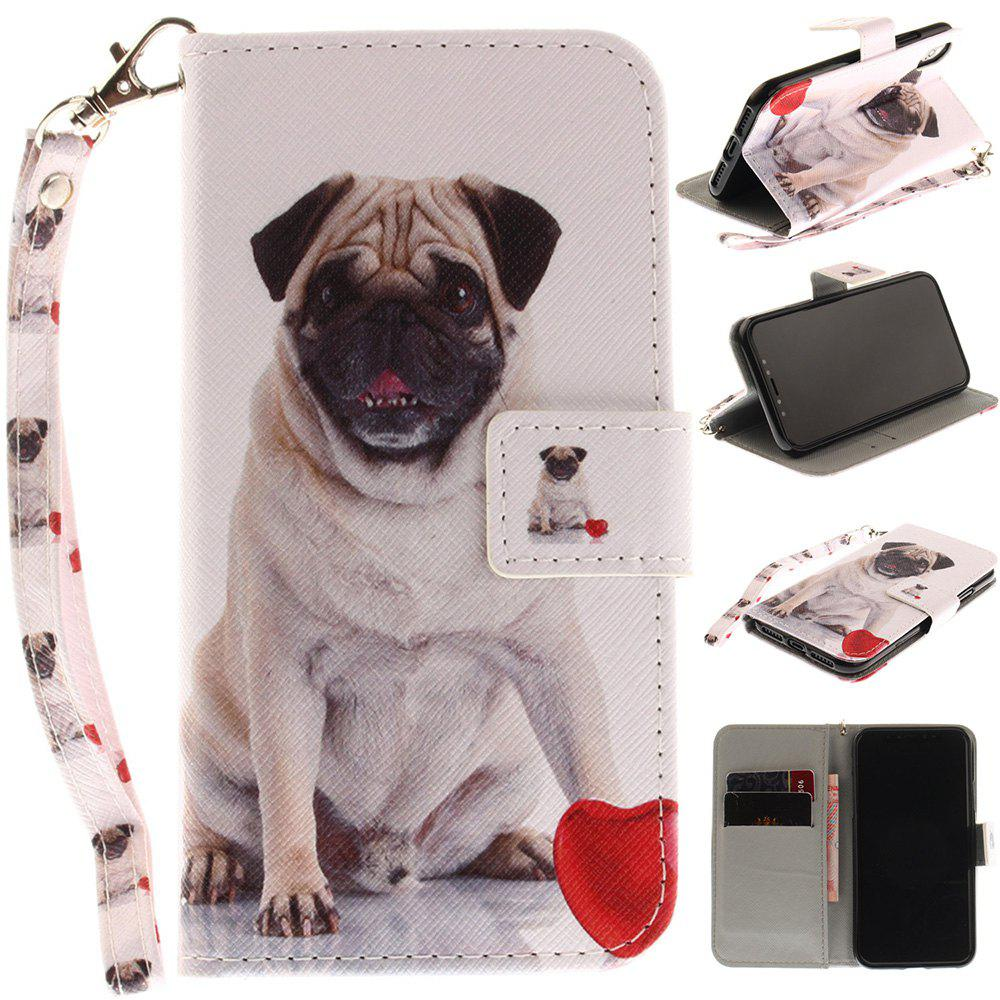Pug Pattern Pu+Tpu Leather Wallet Case with Card Holder/Magnetic Closure Flip Cover for Iphone XHOME<br><br>Color: BLACK;
