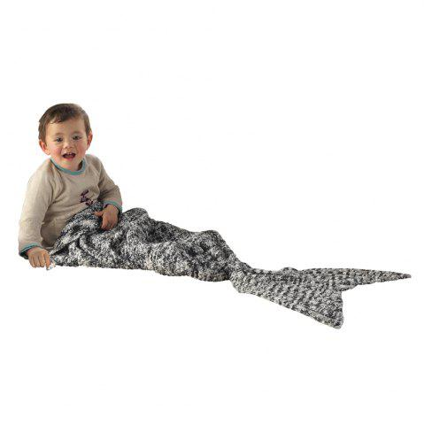 Online I-Baby Mermaid Tail Knit Crochet Blanket for Toddler Kid and Adult BLACK & WHITE