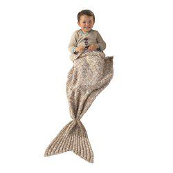 I-Baby Mermaid Tail Knit Crochet Blanket for Toddler Kid and Adult - LIGHT BROWN 12/88#
