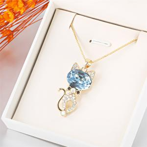 Round Cut drop Swarovski Elements Blue Crystal Cat Animal Pendant Long Chain Gold Necklace - GOLE FRAME + BLUE LENS