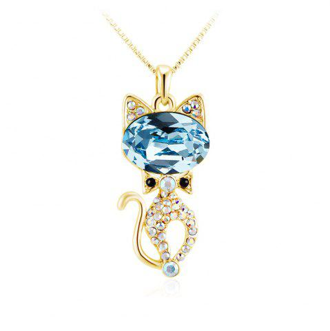 Online Round Cut drop Swarovski Elements Blue Crystal Cat Animal Pendant Long Chain Gold Necklace GOLE FRAME + BLUE LENS