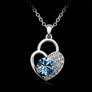 Sterling Silver Heart Shaped Lock Blue  Swarovski Crystals Jewelry Pendant Necklace for Women girls - SILVER AND BLUE