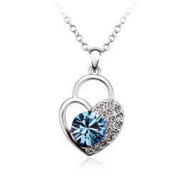 Sterling Silver Heart Shaped Lock Blue  Swarovski Crystals Jewelry Pendant Necklace for Women girls -