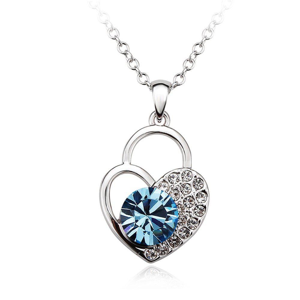 Buy Sterling Silver Heart Shaped Lock Blue  Swarovski Crystals Jewelry Pendant Necklace for Women girls