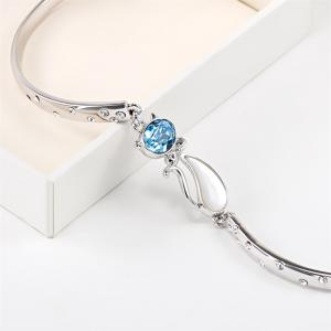 Bangle Bracelet Made with Blue Swarovski Crystal Cat Shape Fairytale Design -