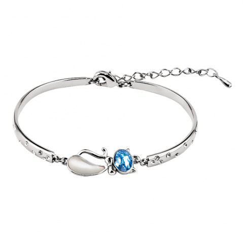 Shops Bangle Bracelet Made with Blue Swarovski Crystal Cat Shape Fairytale Design