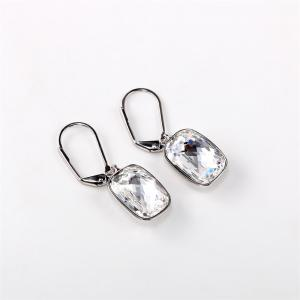 Ouxi Sterling Silver White Crystal Hanging Earrings for Woman girl -