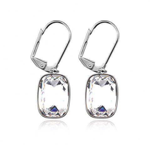 Discount Ouxi Sterling Silver White Crystal Hanging Earrings for Woman girl SILVER AND BLUE